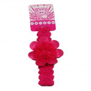Soft Touch baby haarbandje met  grote donker roze bloem