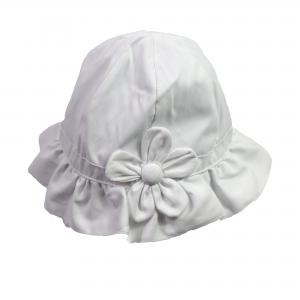 Baby hoedje wit met grote bloem. Maat 6-12 mnd
