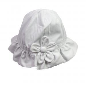 Meisjes hoedje wit met grote bloem - Maat 12-18 mnd