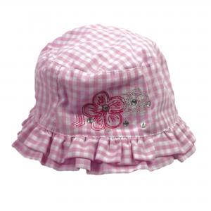 Meisjes hoedje roze/wit geruit 12-18 mnd