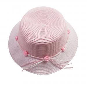 Meisjeshoedje roze/wit met roosjes 50 cm