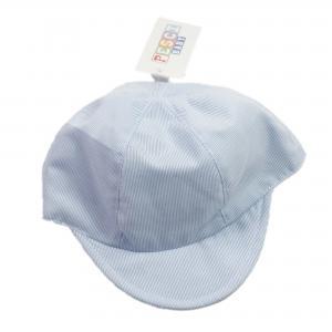 Baby petje licht blauw/wit 100% katoen 3-6 mnd