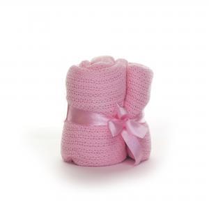 Soft Touch katoenen wieg deken - roze
