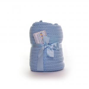 Soft Touch katoenen wieg deken - blauw