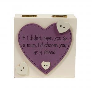 Doos wit met paars hart speciaal voor moeder.