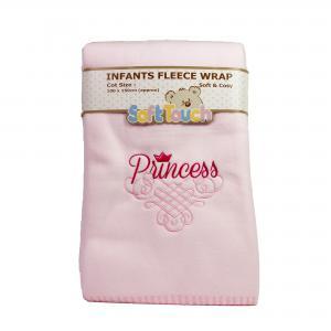 Fleece deken roze geborduurd princess