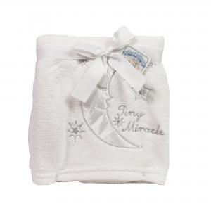 Soft Touch fleece deken wit met de tekst Tiny miracle