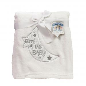 Soft Touch fleece deken met de tekst Bless this Baby