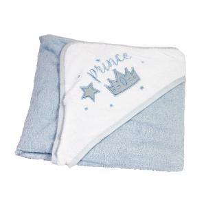 Badcape blauw/wit met de tekst Prince