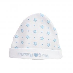 New born mutsje blauw/wit. Met de tekst Mummy's loves me
