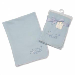 Soft fleece dekentje blauw met tekst Prince