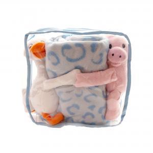 Rugtas met deken met knuffel varken en eend