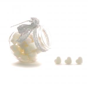 Suikerklontjes in Hartvorm - Wit in glazen potje