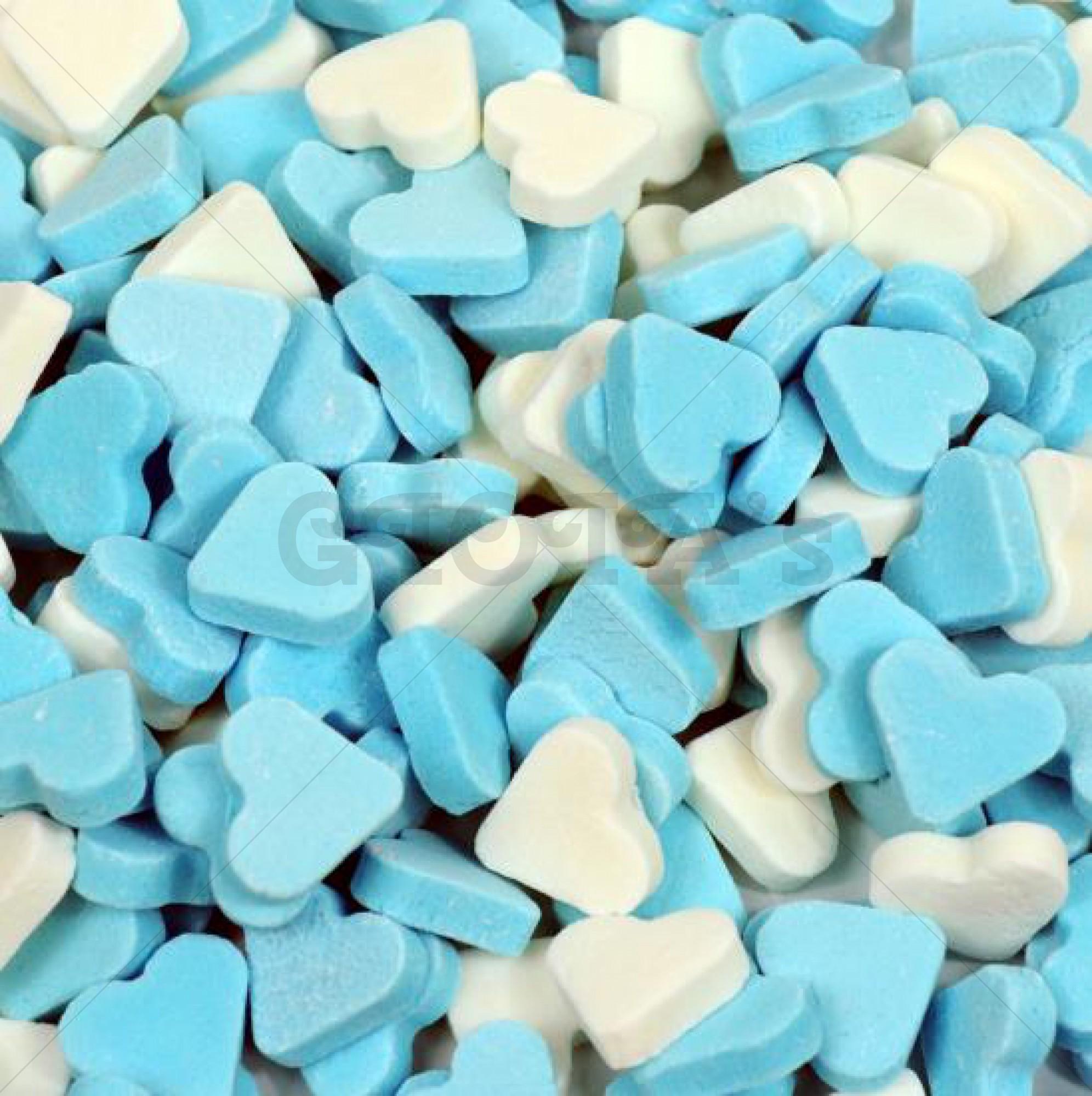 Mini vruchtenhartjes blauw/wit - 100 gram