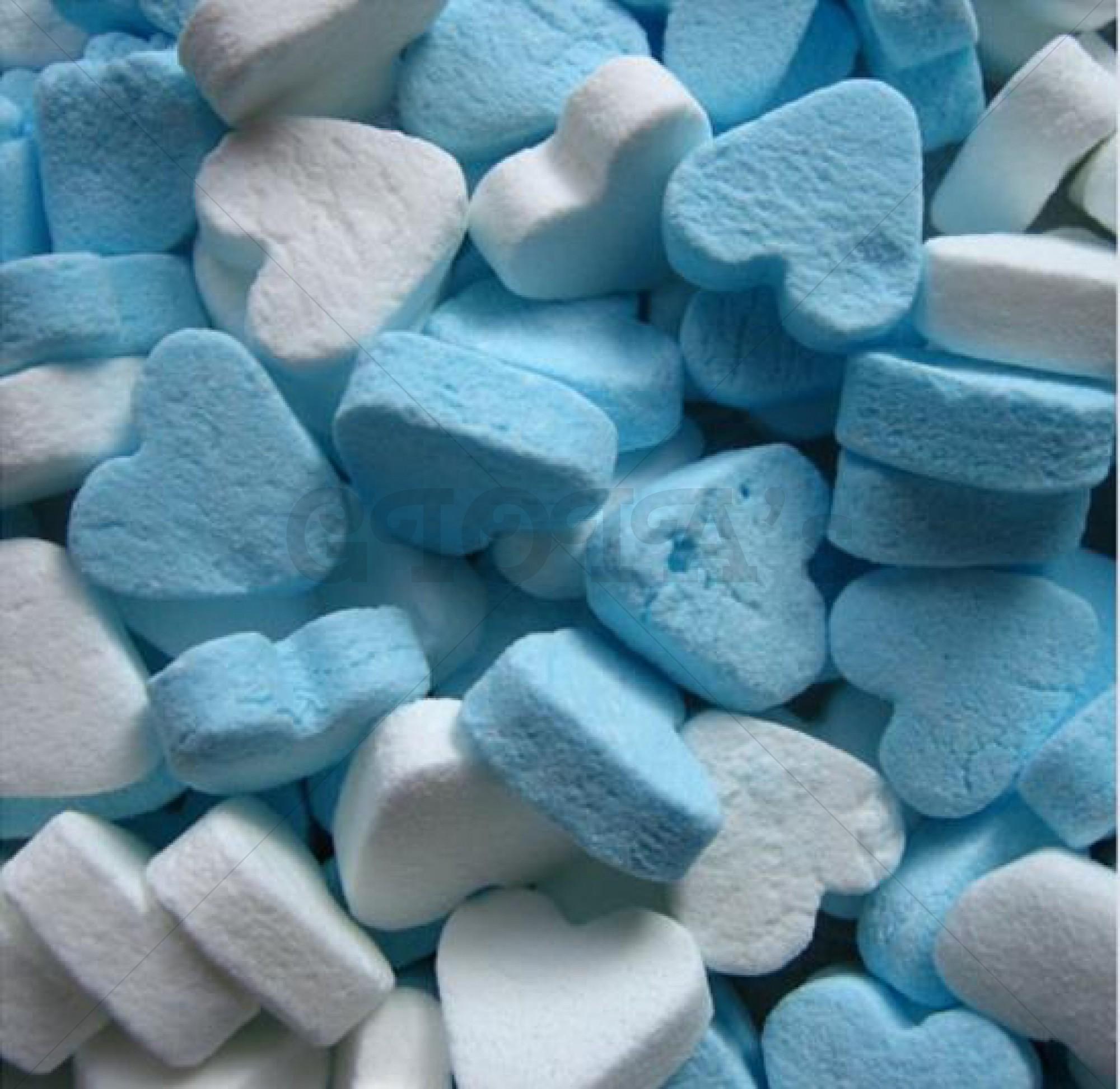 Themasnoep - Mini hartjes blauw/wit (pepermuntsmaak) 100 gram