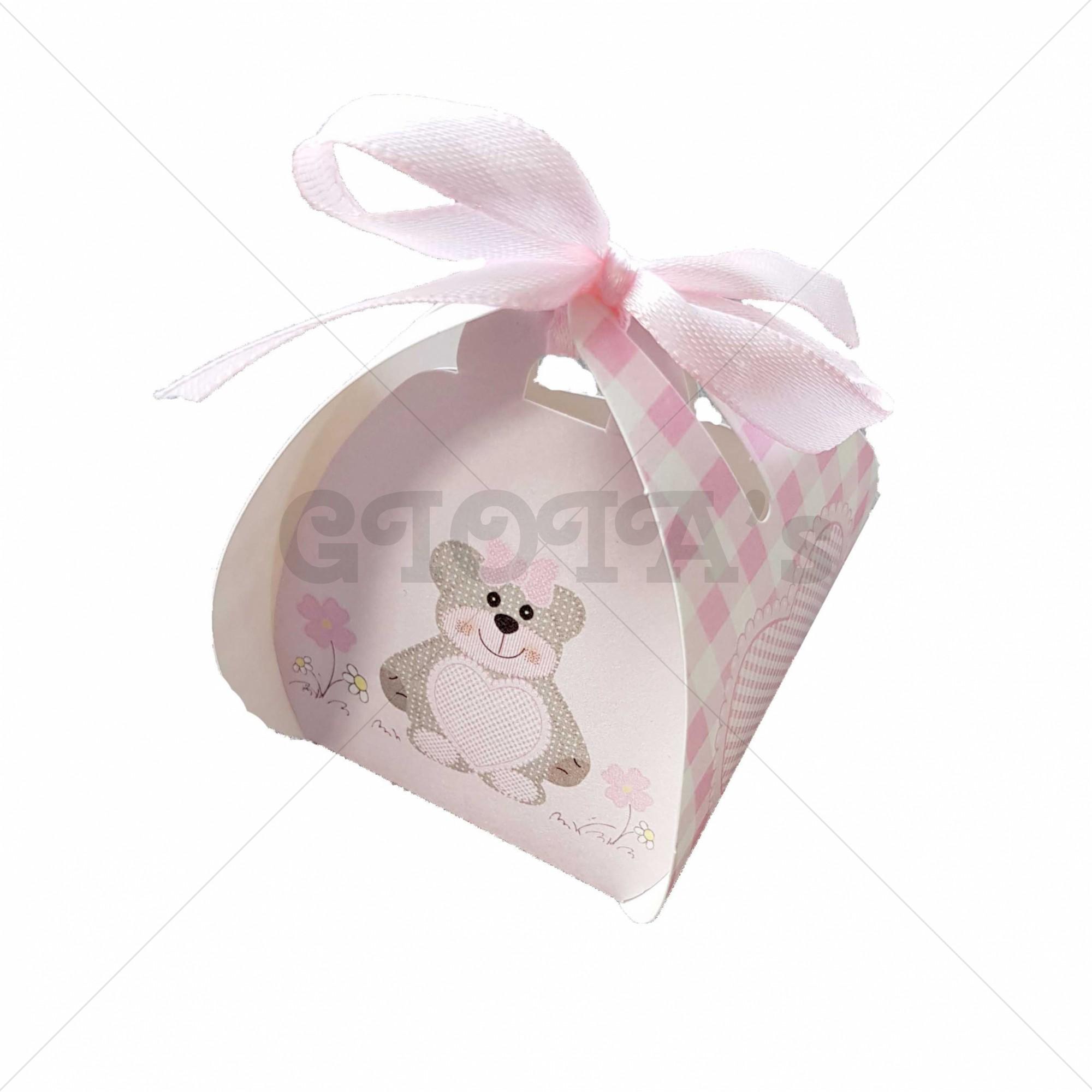Doosje roze-wit met beer en strik