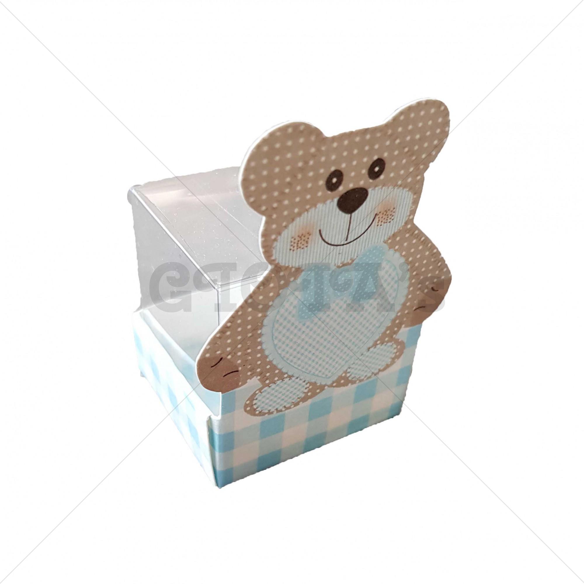 Doosje blauw-wit met beer en transparant doosje