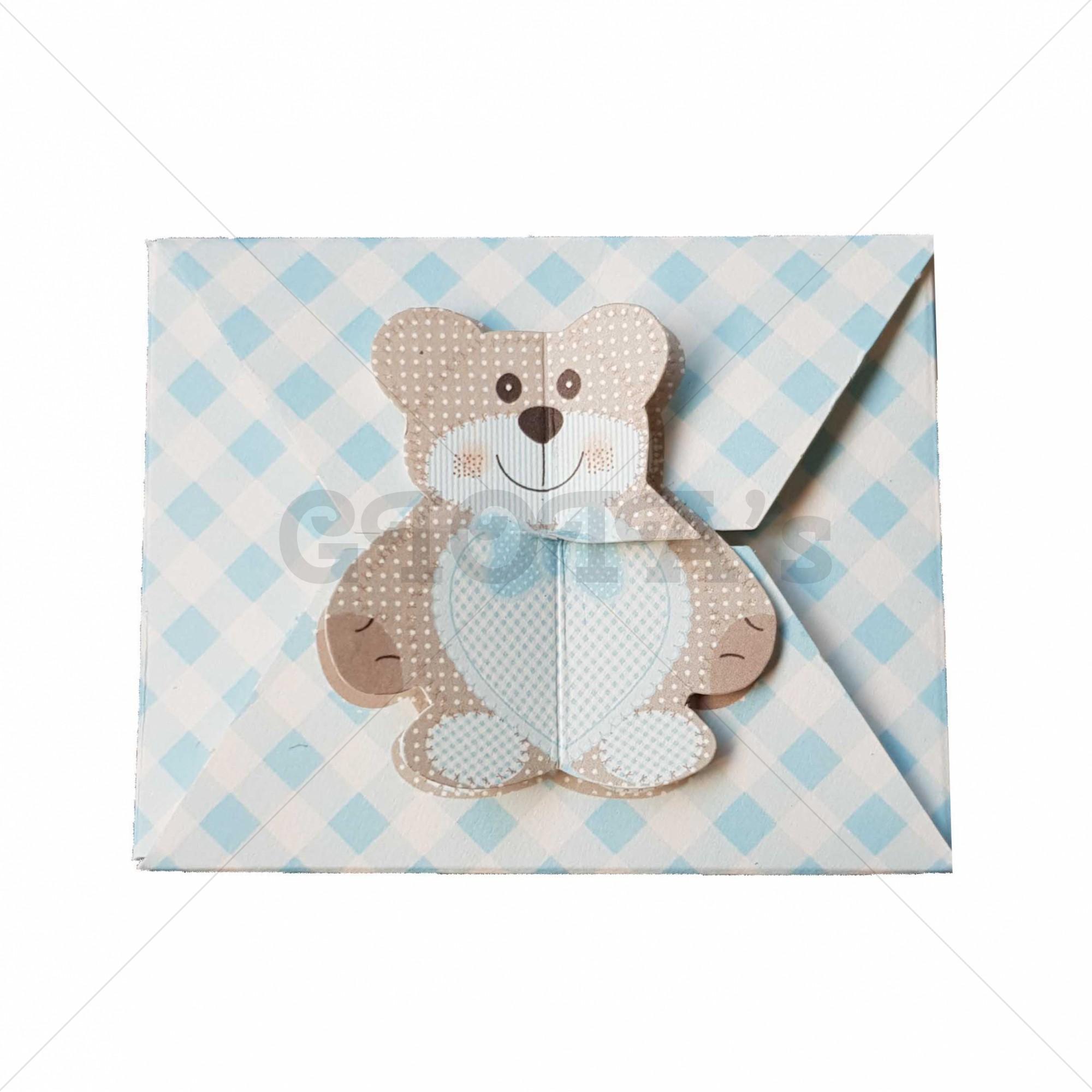 Envelop doosje blauw-wit met beer