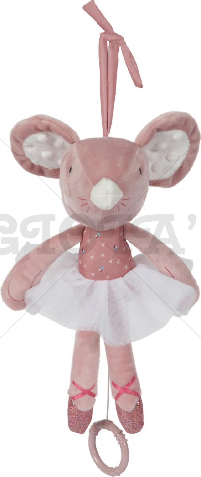 Tiamo Muziekdoosje Balletmuis 30 cm Roze