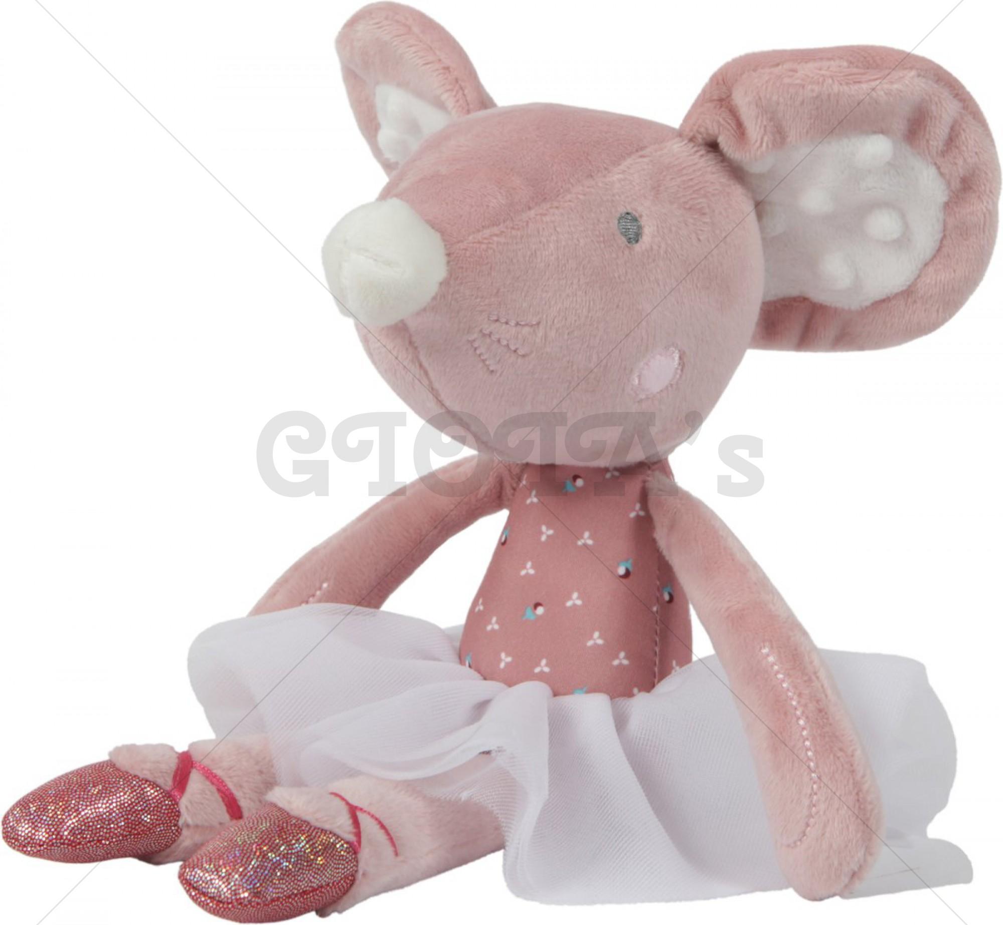 Tiamo Pluche Ballet muis 27cm Roze