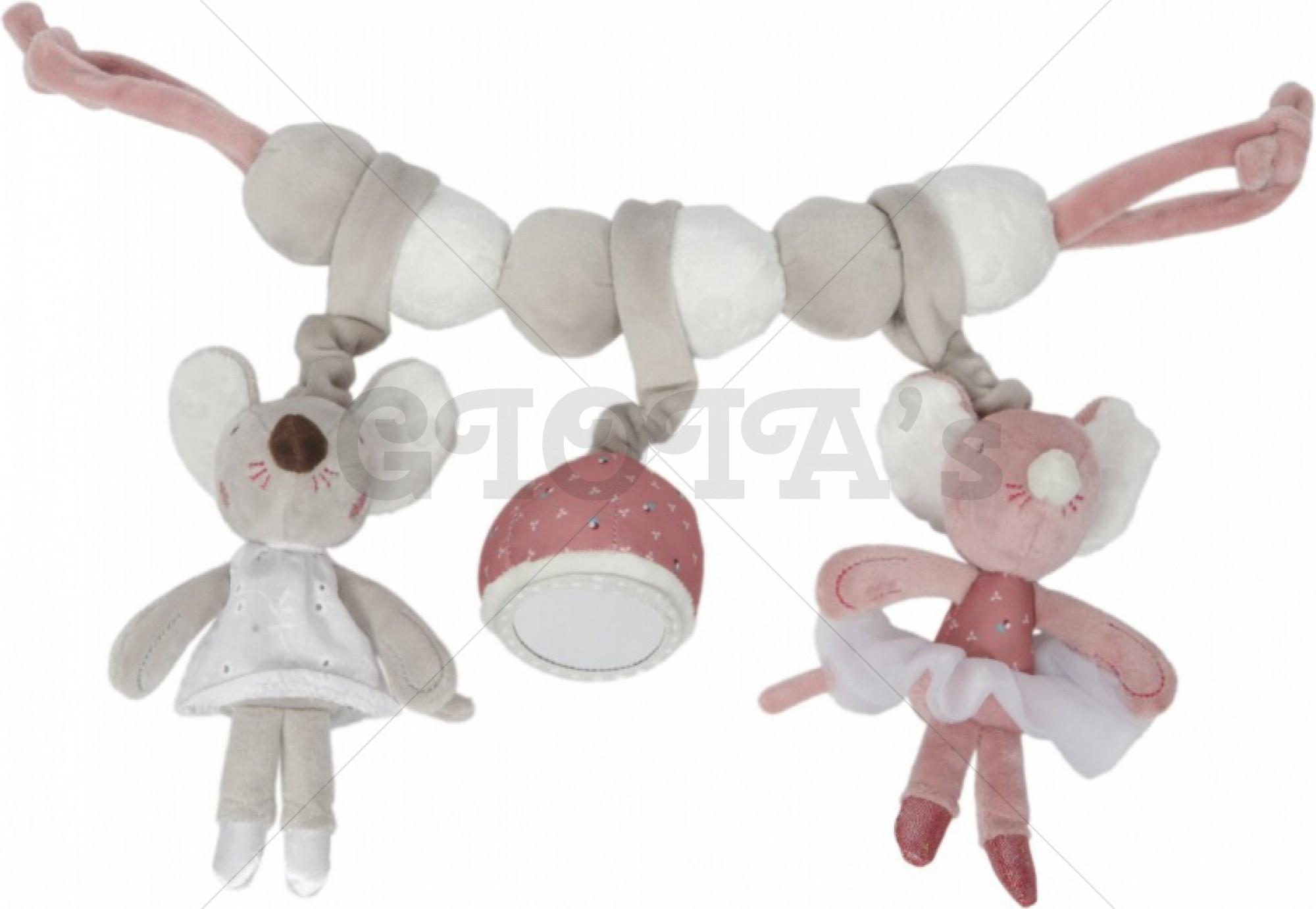 Tiamo Wagenspanner Balletmuis 36 cm roze/grijs