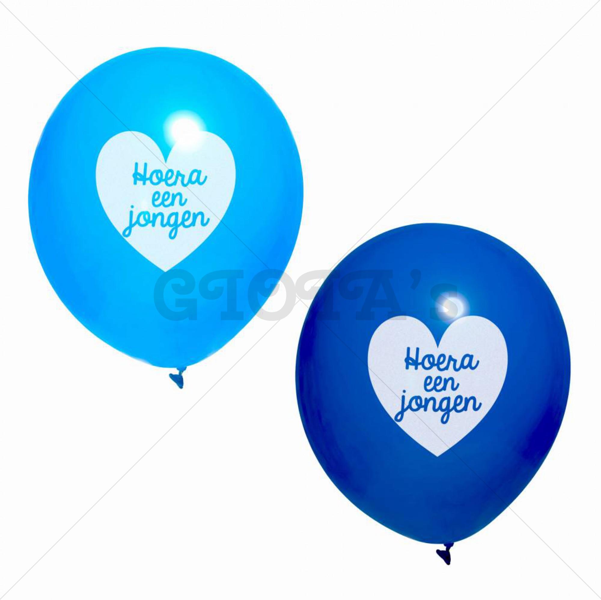 Ballon blauw met tekst Hoera een jongen 10 stuks