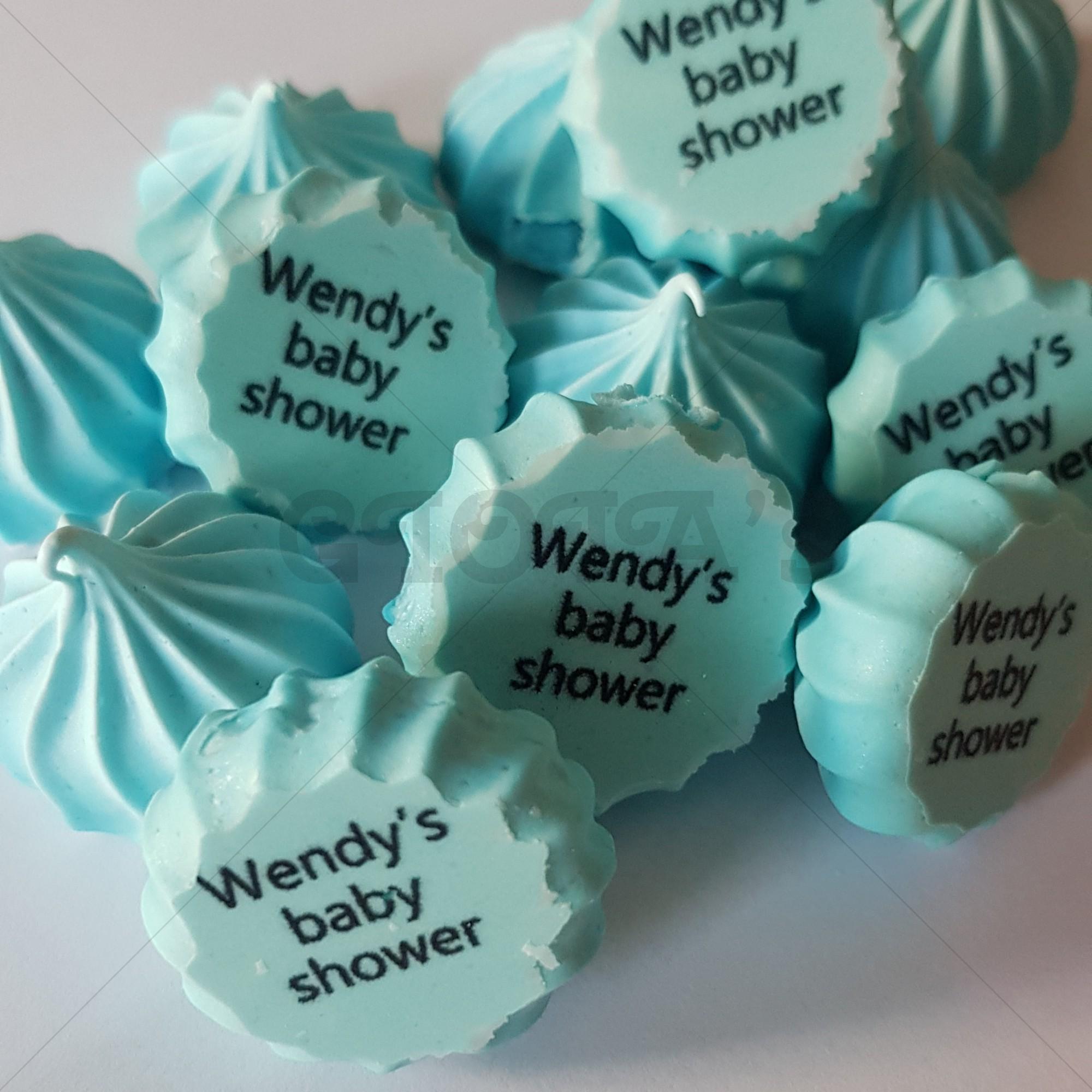 Meringue schuim voor eenBabyshower,  Gender Reveal, Kraamfeest, Geboorte 20 stuks  (glutenvrij) geslachtsbepaling babyshower