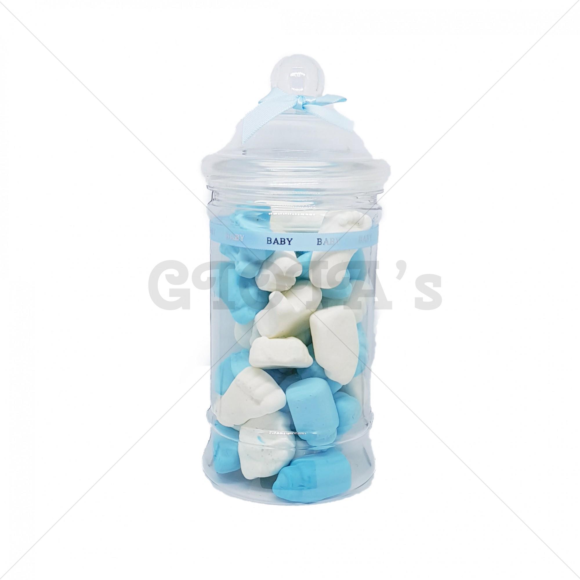 Snoeppot - blauw-wit schuim babyshower
