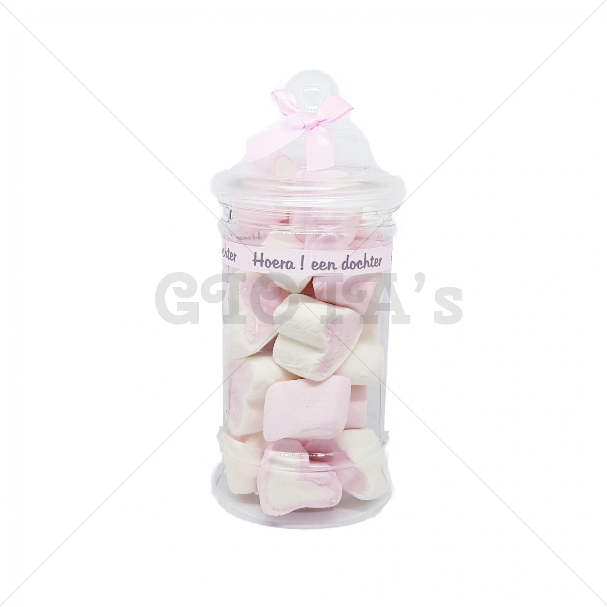 Snoeppot - roze-wit hartjes spek