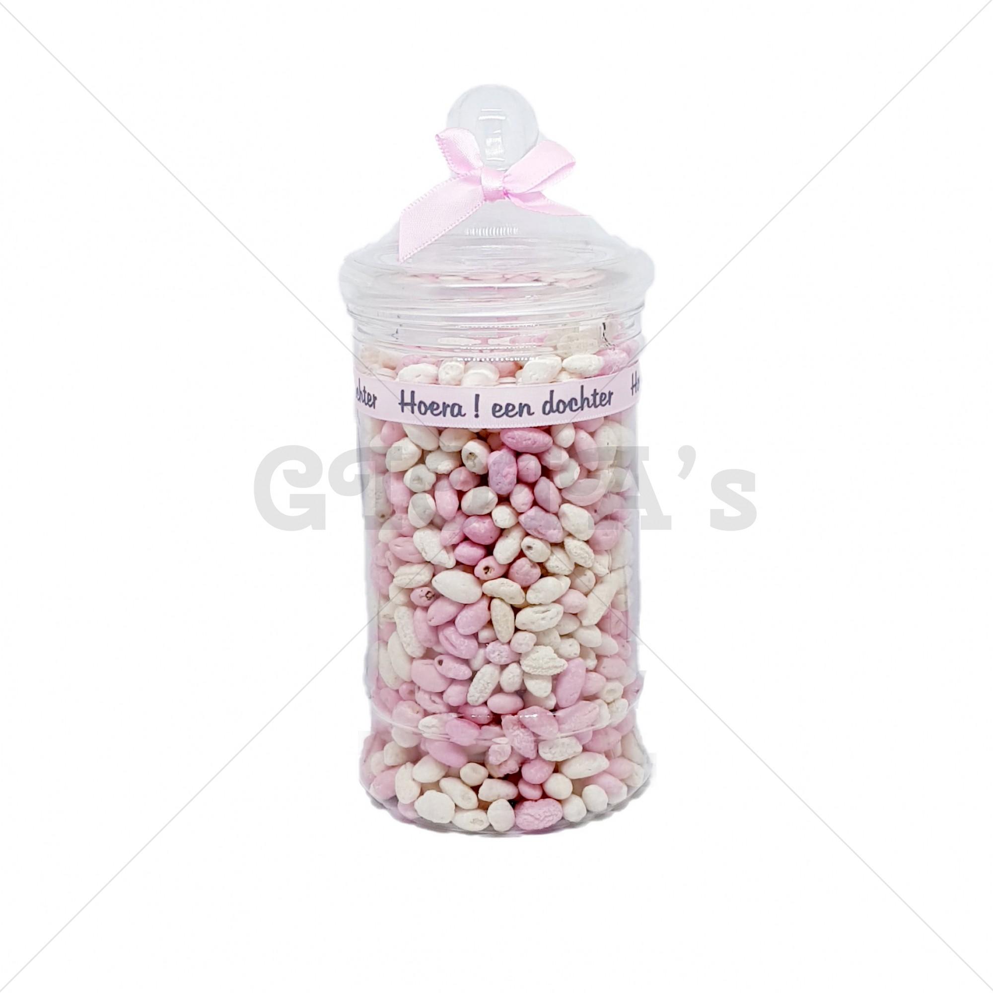 Snoeppot -  manna roze-wit