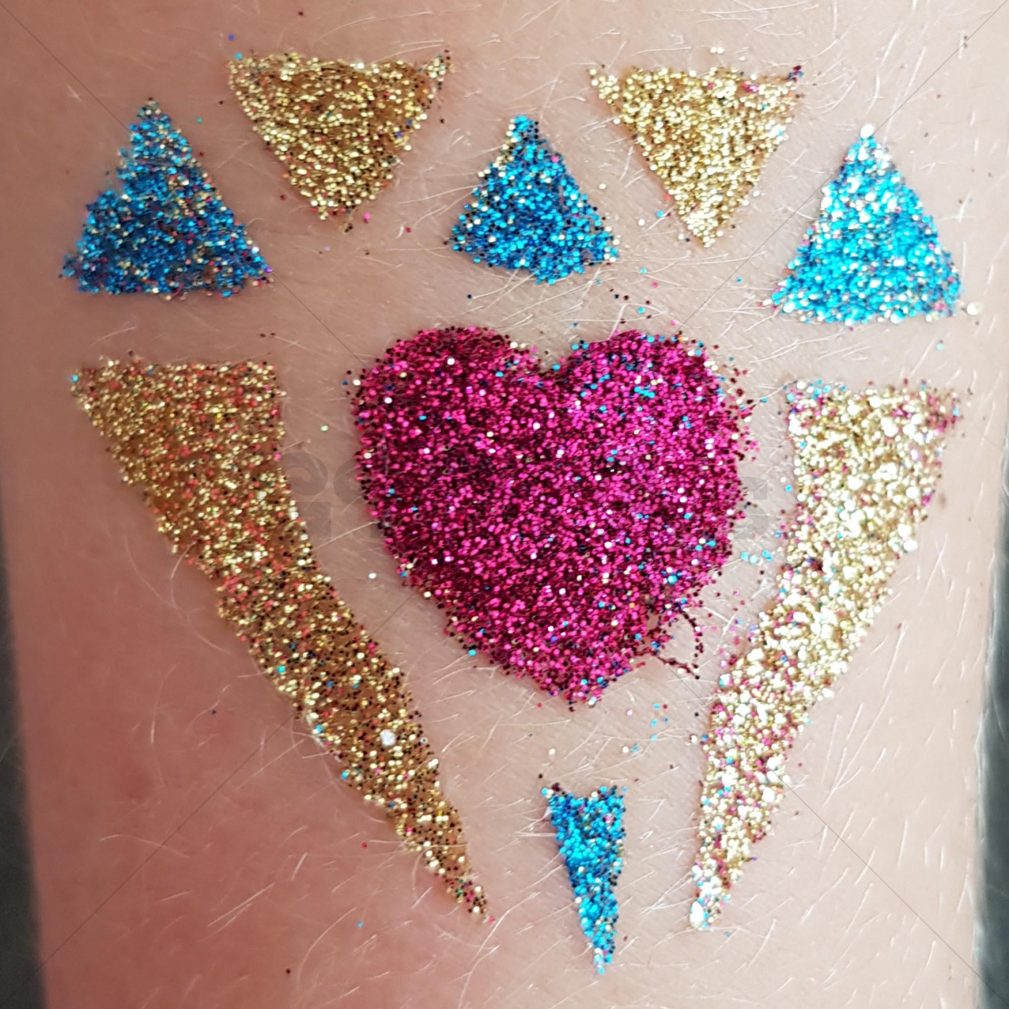 Glitter tattoo pakket (huidlijm, glitters, kwasten, 50 sjablonen)