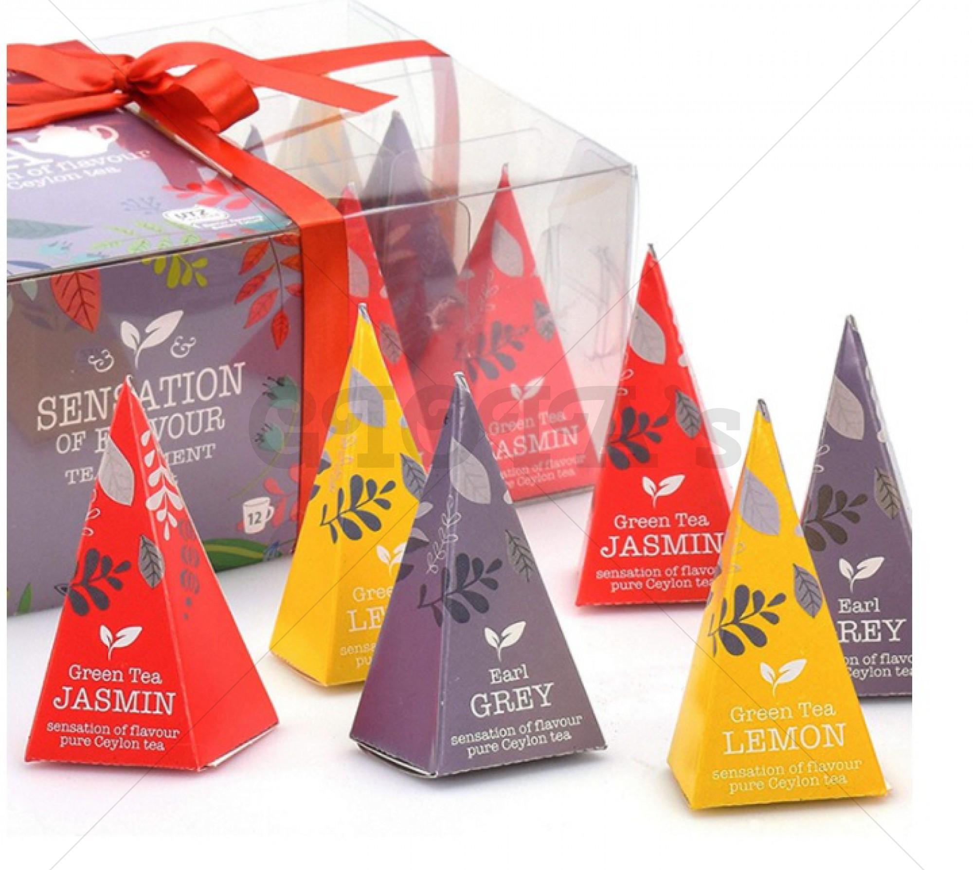 Thee - Doosje gevuld met 12 piramidevorm theezakjes (Earl gray, Jasmijn, Citroen)