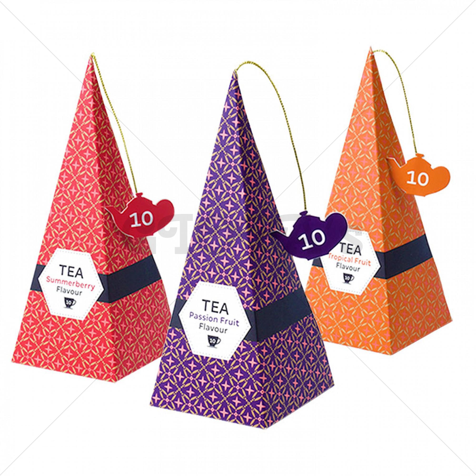 Thee - Piramide vormige cadeauverpakking - 10 zakjes - 3 verschillende soorten