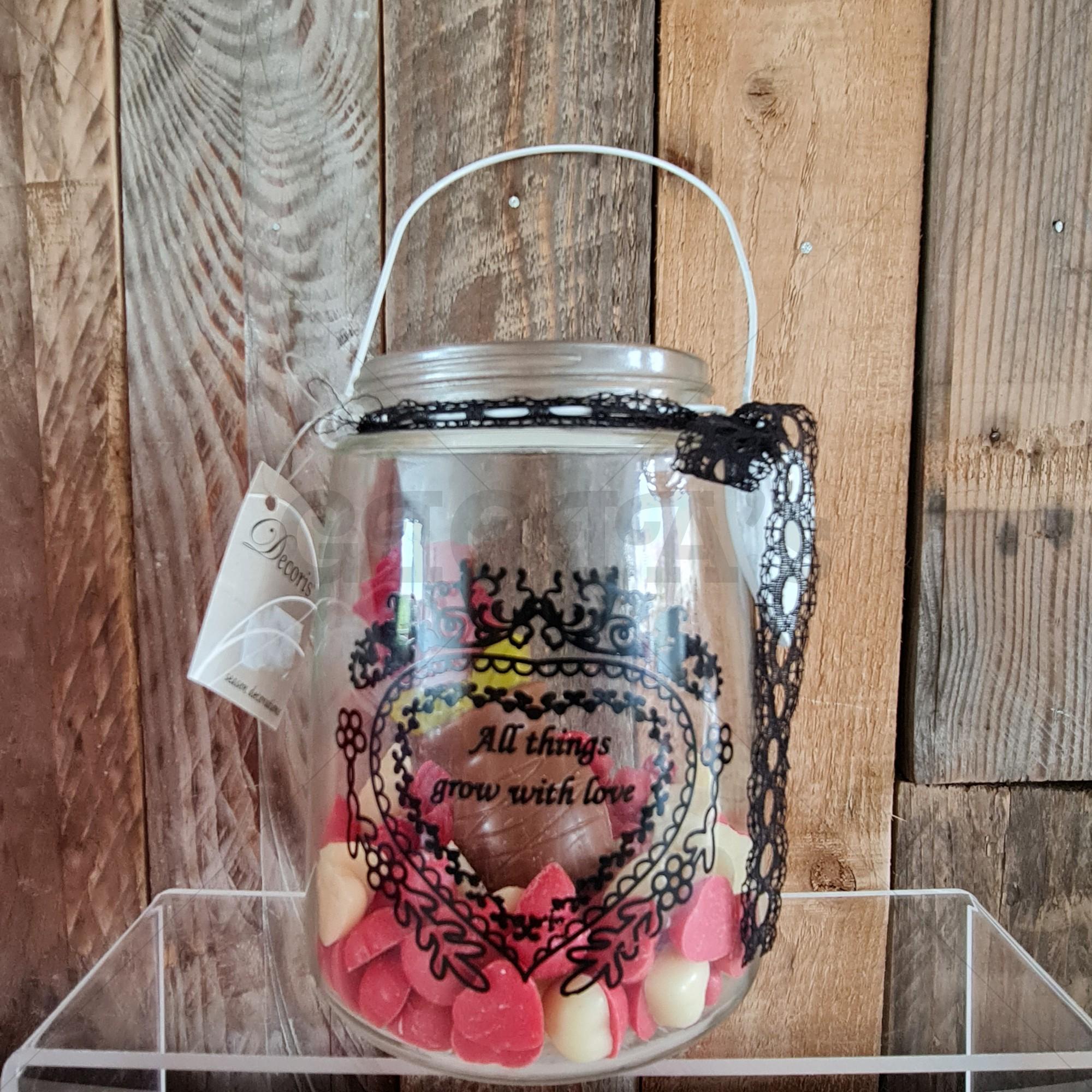 Cadeau set glazen pot met tekst en chocolade