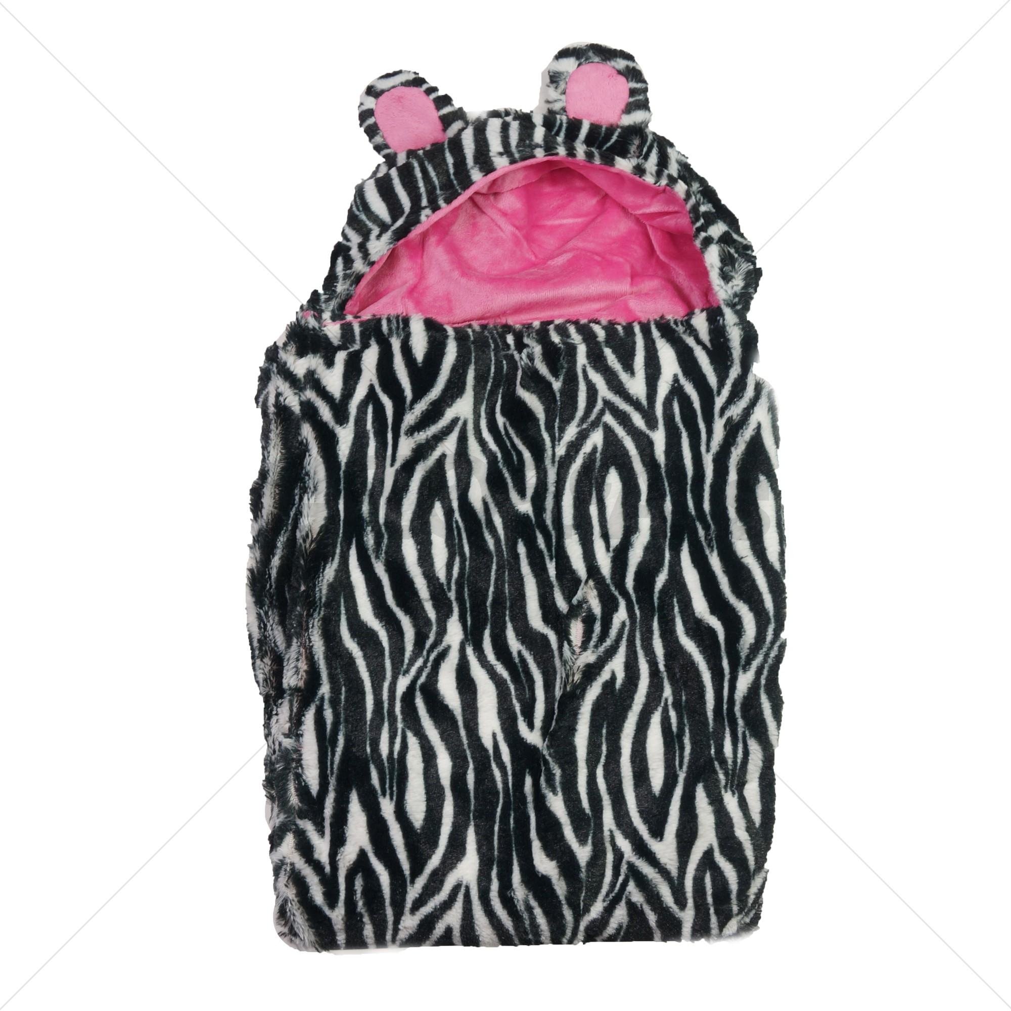 Soft Touch wikkeldeken / omslagdeken zebra roze