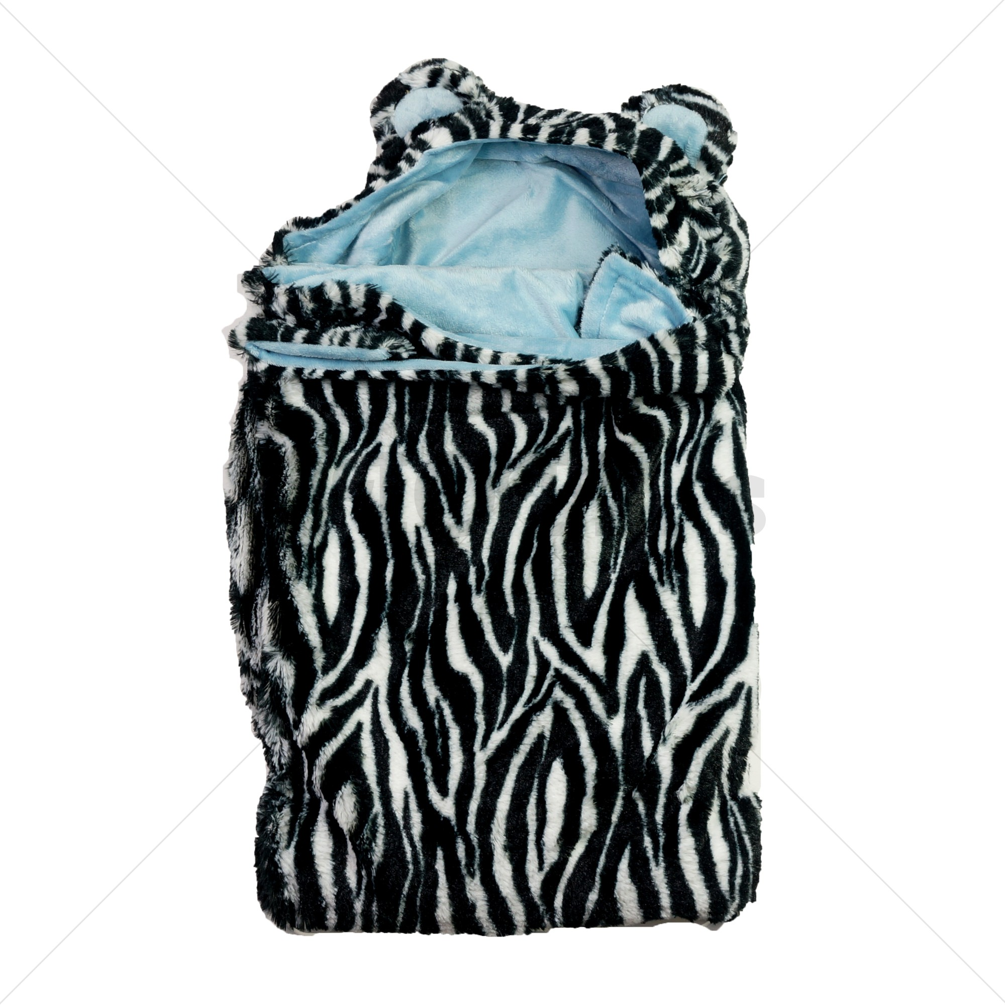Soft Touch wikkeldeken / omslagdeken zebraprint blauw