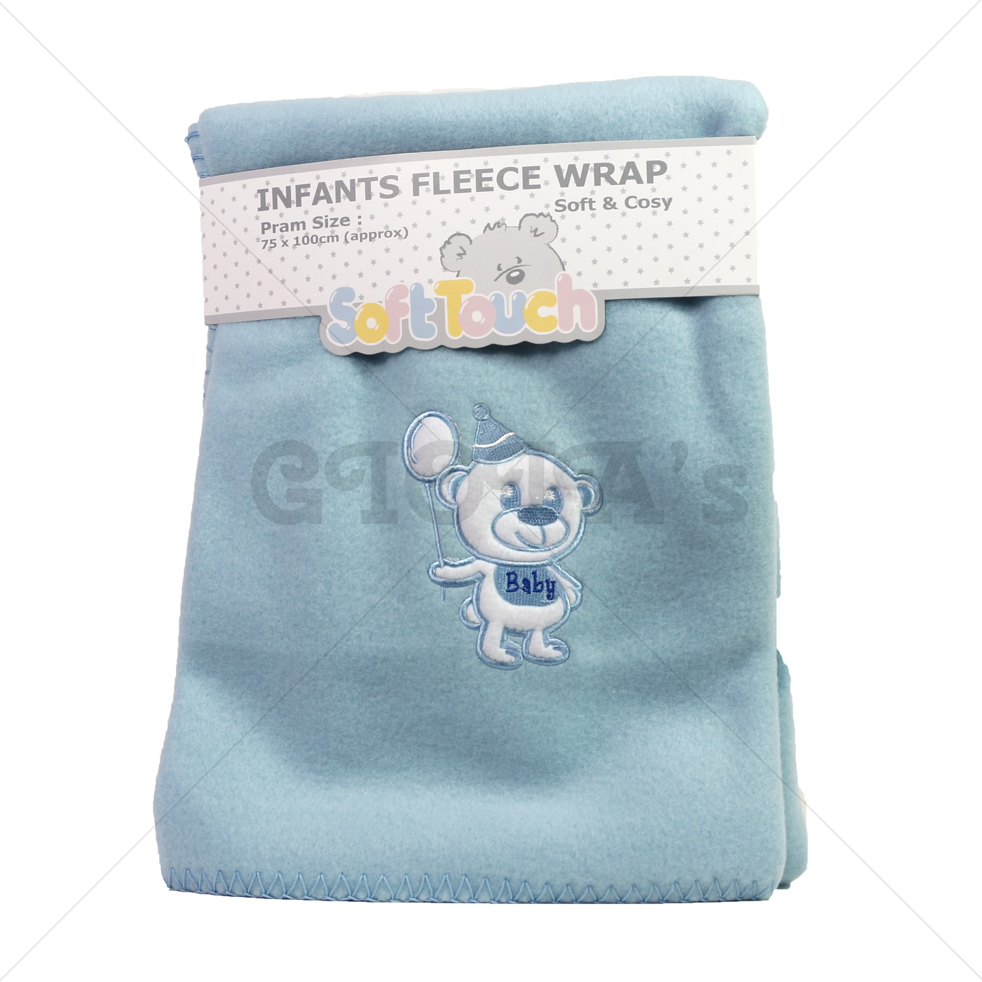 Soft Touch fleece deken blauw met beer